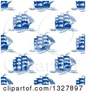 Clipart Of A Seamless Patterned Background Of Blue Ships 2 Royalty Free Vector Illustration by Vector Tradition SM