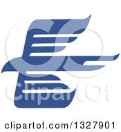Clipart Of A Blue Abstract Flying Eagle Royalty Free Vector Illustration