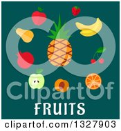 Clipart Of A Flat Design Pinepple And Other Fruits Over Text On Teal Royalty Free Vector Illustration by Vector Tradition SM