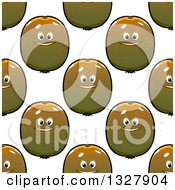 Clipart Of A Seamless Background Pattern Of Happy Kiwi Fruits Royalty Free Vector Illustration