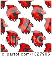 Clipart Of A Seamless Pattern Background Of Red Cardinal Birds 2 Royalty Free Vector Illustration by Vector Tradition SM