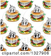 Clipart Of A Seamless Background Pattern Of Grinning Cheeseburgers Royalty Free Vector Illustration