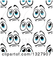 Clipart Of A Seamless Background Pattern Of Sad Faces Royalty Free Vector Illustration