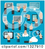 Clipart Of Flat Design Hands Using Gadgets Over Blue Royalty Free Vector Illustration by Vector Tradition SM