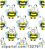 Clipart Of A Seamless Pattern Background Of Cute Bees 2 Royalty Free Vector Illustration by Vector Tradition SM