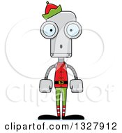 Clipart Of A Cartoon Skinny Surprised Robot Christmas Elf Royalty Free Vector Illustration