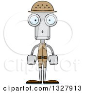 Clipart Of A Cartoon Skinny Surprised Zookeeper Robot Royalty Free Vector Illustration