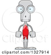 Clipart Of A Cartoon Skinny Surprised Robot Wrestler Royalty Free Vector Illustration