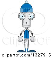 Clipart Of A Cartoon Skinny Surprised Winter Robot Royalty Free Vector Illustration