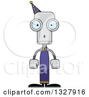 Clipart Of A Cartoon Skinny Surprised Robot Wizard Royalty Free Vector Illustration