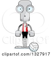 Clipart Of A Cartoon Skinny Surprised Robot Volleyball Player Royalty Free Vector Illustration