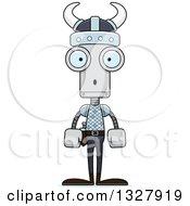 Clipart Of A Cartoon Skinny Surprised Viking Robot Royalty Free Vector Illustration