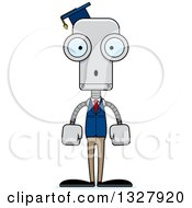Clipart Of A Cartoon Skinny Surprised Robot Professor Royalty Free Vector Illustration