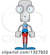Clipart Of A Cartoon Skinny Surprised Super Hero Robot Royalty Free Vector Illustration