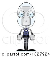 Clipart Of A Cartoon Skinny Surprised Futuristic Space Robot Royalty Free Vector Illustration