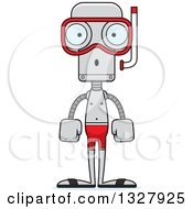 Clipart Of A Cartoon Skinny Surprised Robot In Snorkel Gear Royalty Free Vector Illustration