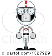 Clipart Of A Cartoon Skinny Surprised Robot Race Car Driver Royalty Free Vector Illustration