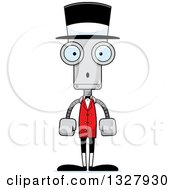 Clipart Of A Cartoon Skinny Surprised Robot Circus Ringmaster Royalty Free Vector Illustration