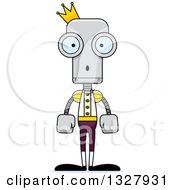 Clipart Of A Cartoon Skinny Surprised Robot Prince Royalty Free Vector Illustration