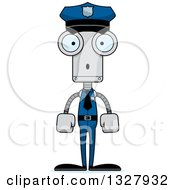 Clipart Of A Cartoon Skinny Surprised Robot Police Officer Royalty Free Vector Illustration