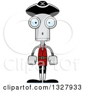 Clipart Of A Cartoon Skinny Surprised Pirate Robot Royalty Free Vector Illustration