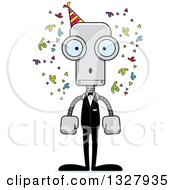 Clipart Of A Cartoon Skinny Surprised Party Robot Royalty Free Vector Illustration