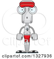 Clipart Of A Cartoon Skinny Surprised Robot Lifeguard Royalty Free Vector Illustration