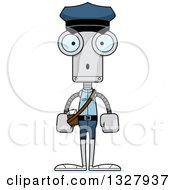 Clipart Of A Cartoon Skinny Surprised Robot Mailman Royalty Free Vector Illustration