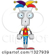 Clipart Of A Cartoon Skinny Surprised Robot Jester Royalty Free Vector Illustration