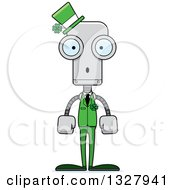 Clipart Of A Cartoon Skinny Surprised St Patricks Day Robot Royalty Free Vector Illustration