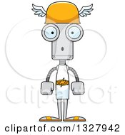 Clipart Of A Cartoon Skinny Surprised Robot Hermes Royalty Free Vector Illustration