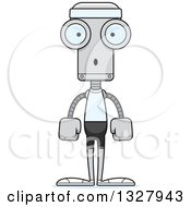 Clipart Of A Cartoon Skinny Surprised Fitness Robot Royalty Free Vector Illustration