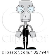 Clipart Of A Cartoon Skinny Surprised Robot Groom Royalty Free Vector Illustration