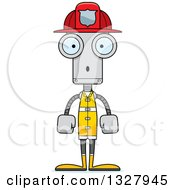 Clipart Of A Cartoon Skinny Surprised Robot Firefighter Royalty Free Vector Illustration