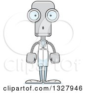 Clipart Of A Cartoon Skinny Surprised Robot Doctor Royalty Free Vector Illustration