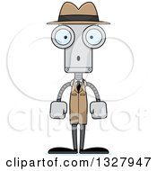 Clipart Of A Cartoon Skinny Surprised Robot Detective Royalty Free Vector Illustration