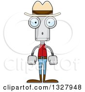 Clipart Of A Cartoon Skinny Surprised Robot Cowboy Royalty Free Vector Illustration