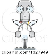 Clipart Of A Cartoon Skinny Surprised Robot Cupid Royalty Free Vector Illustration