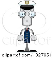 Clipart Of A Cartoon Skinny Surprised Robot Captain Royalty Free Vector Illustration