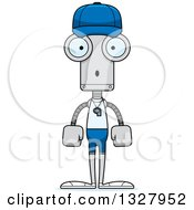 Clipart Of A Cartoon Skinny Surprised Robot Sports Coach Royalty Free Vector Illustration
