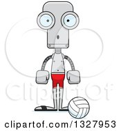 Clipart Of A Cartoon Skinny Surprised Robot Beach Volleyball Player Royalty Free Vector Illustration