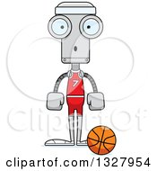 Clipart Of A Cartoon Skinny Surprised Robot Basketball Player Royalty Free Vector Illustration