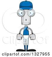 Poster, Art Print Of Cartoon Skinny Surprised Baseball Robot