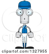 Clipart Of A Cartoon Skinny Surprised Baseball Robot Royalty Free Vector Illustration