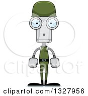 Clipart Of A Cartoon Skinny Surprised Soldier Robot Royalty Free Vector Illustration