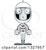 Clipart Of A Cartoon Skinny Surprised Astronaut Robot Royalty Free Vector Illustration