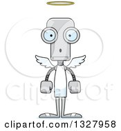 Clipart Of A Cartoon Skinny Surprised Angel Robot Royalty Free Vector Illustration