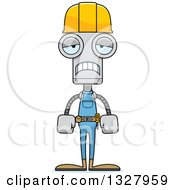 Clipart Of A Cartoon Skinny Sad Robot Construction Worker Royalty Free Vector Illustration