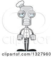 Clipart Of A Cartoon Skinny Sad Chef Robot Royalty Free Vector Illustration