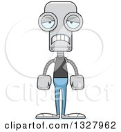 Clipart Of A Cartoon Skinny Sad Casual Robot Royalty Free Vector Illustration